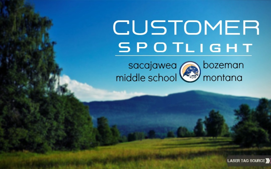 mountain scene with field in front in Montana with text about sacajawea middle school