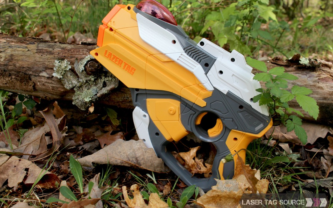 yellow hornet laser tag gun in the woods