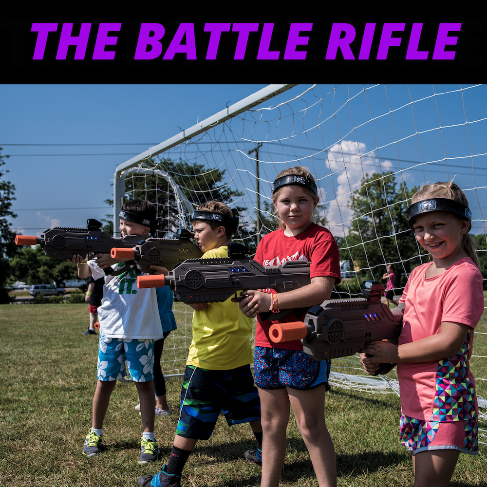 kids with battle rifle laser tag gun - Laser Tag Source